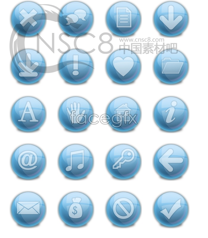 Blue magic light balls marked series icons