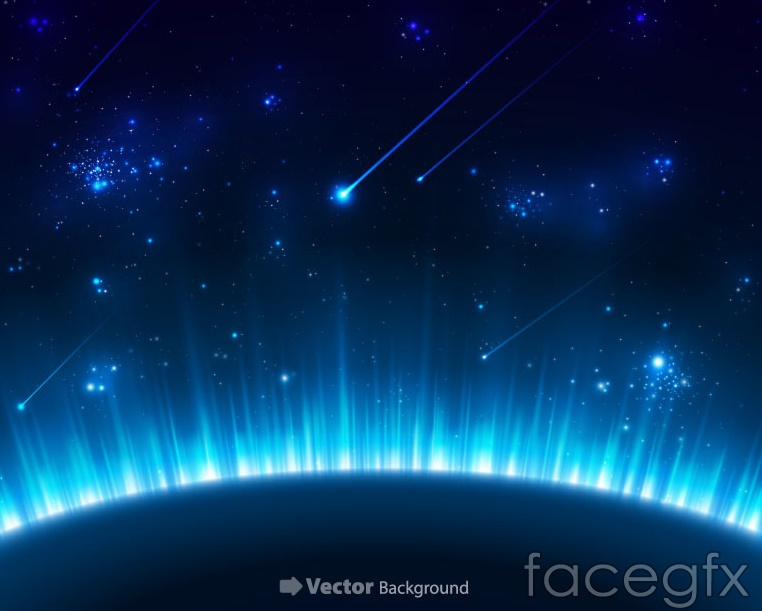 Blue planet in the universe background vector – Over