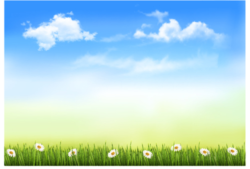 Blue Sky And White Clouds In Spring Design Vector Free  Over