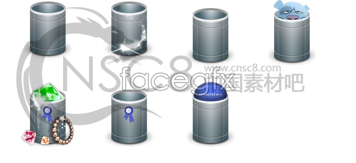 Blue trash can icons