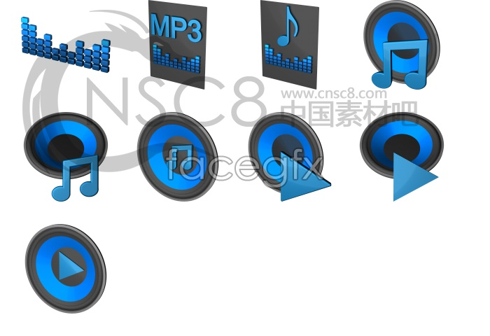Blues blue MP3 icon