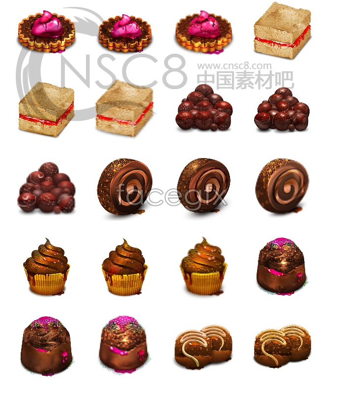 Bread and desserts desktop icons