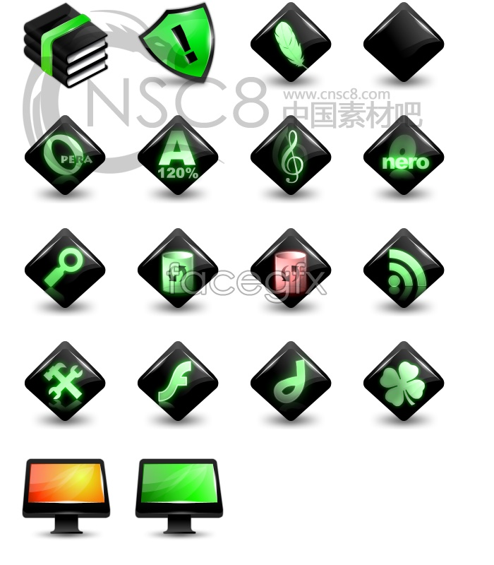Bright fluorescent series icons