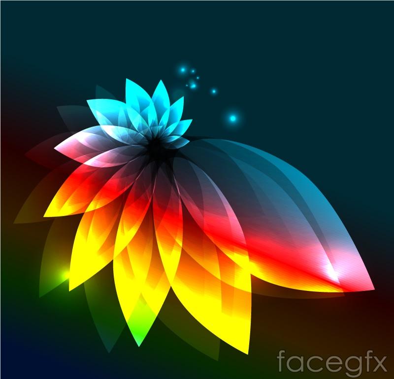 Bright light effect petal background vector