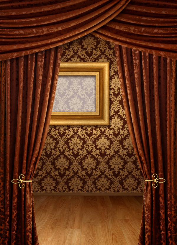 Brown curtains and wall background hd picture material – Over