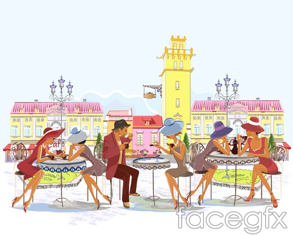 Café illustration vector
