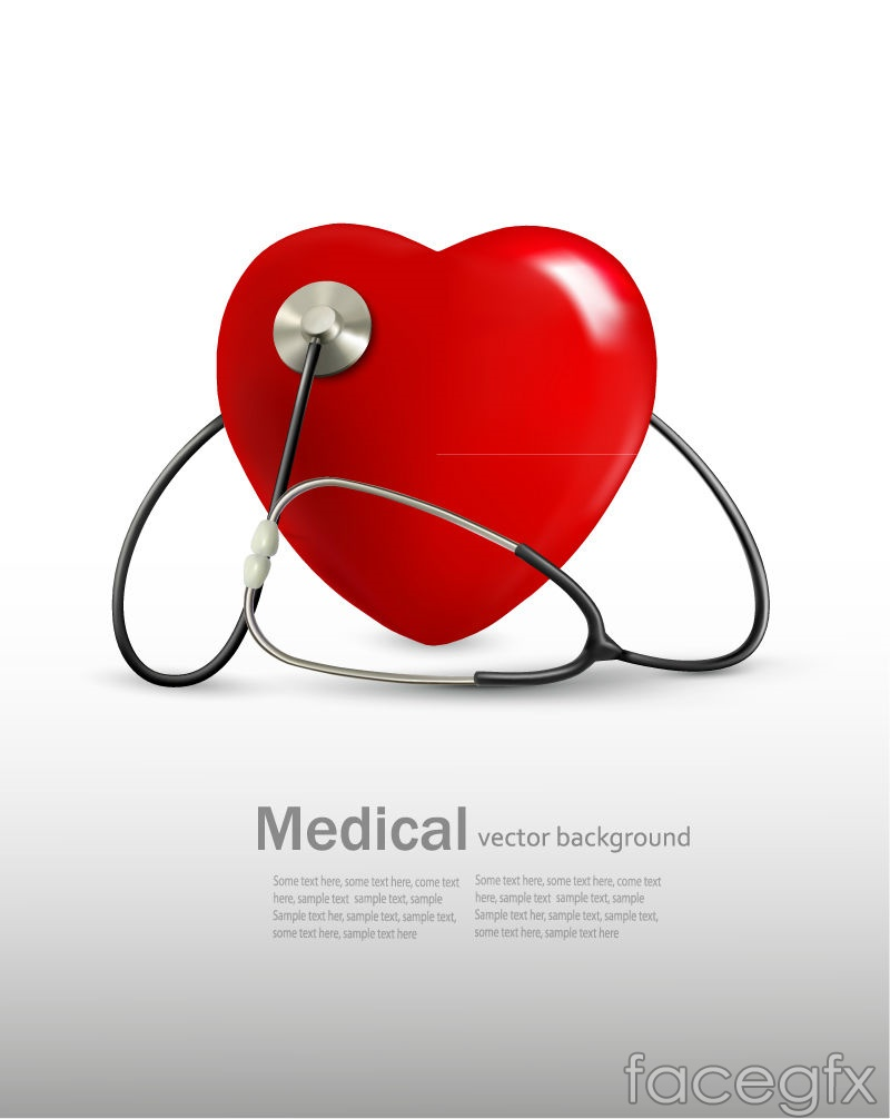 Caring medical auscultation poster vector