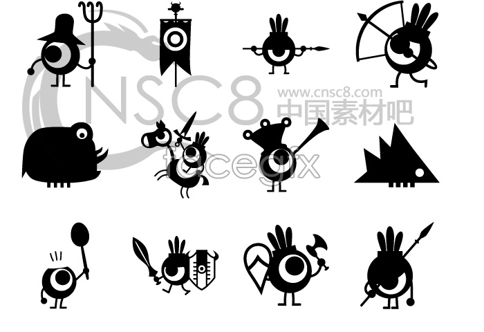 Cartoon bird icons