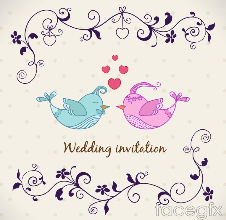 Cartoon Bird Wedding Invitations Couples Vector