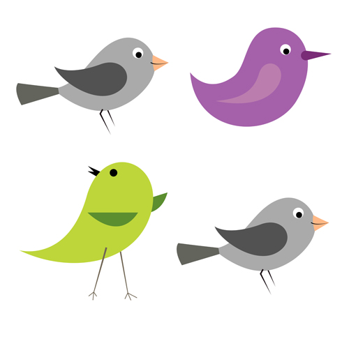 Cartoon Birds Icons Vector And Photoshop Brushes Free Over