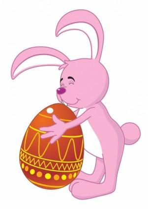 cartoon bunny and egg 01 vector