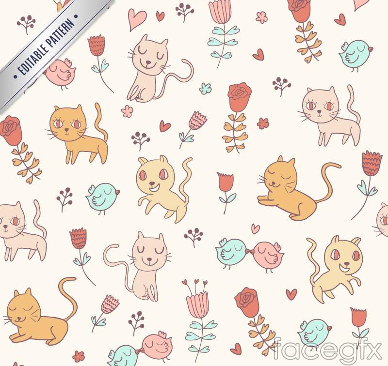 Cartoon cat seamless vector background illustration