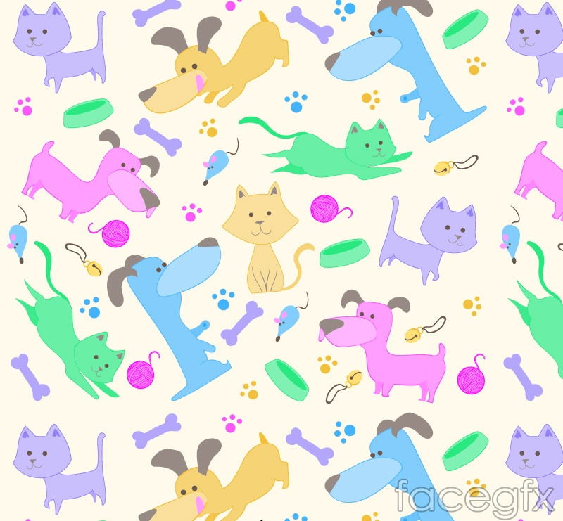 Cartoon cats and dogs vector seamless background