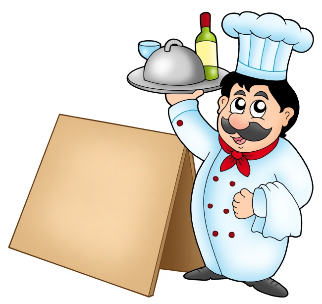 Cartoon chefs empty wooden picture