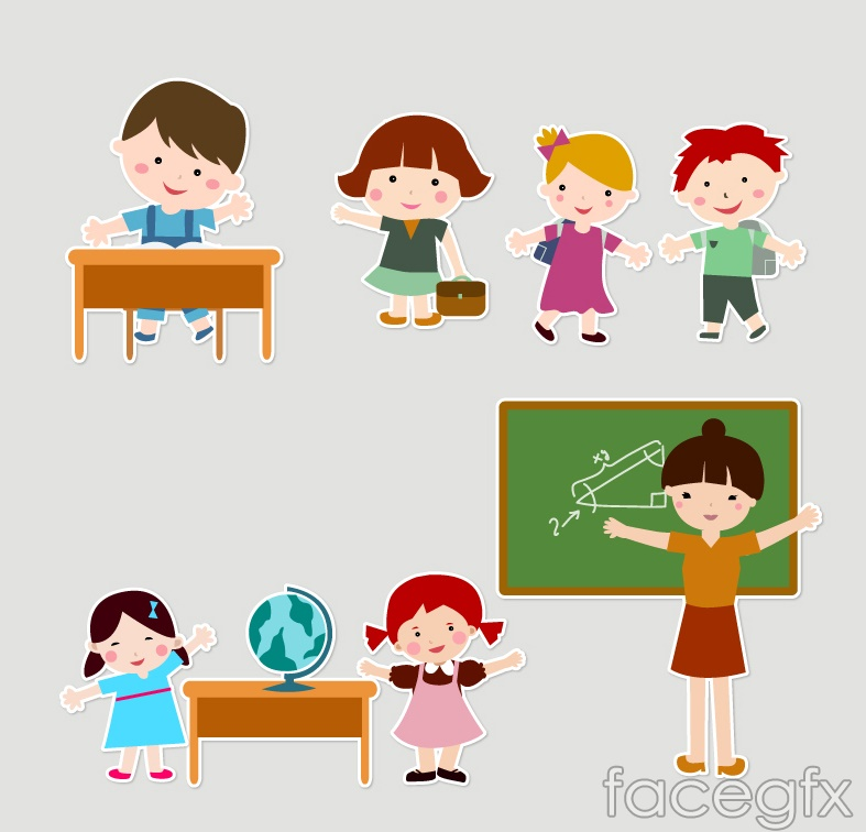 Cartoon children in kindergarten teacher vector over millions cartoon children in kindergarten teacher vector toneelgroepblik Image collections