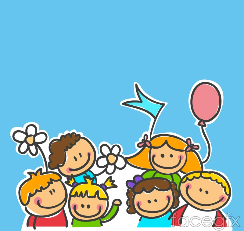 cartoon children playing design vector free download - Download Free Kids Cartoon