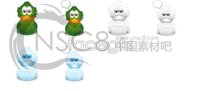Cartoon duck icons