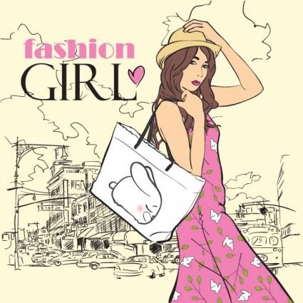 cartoon fashion beauty 04 vector