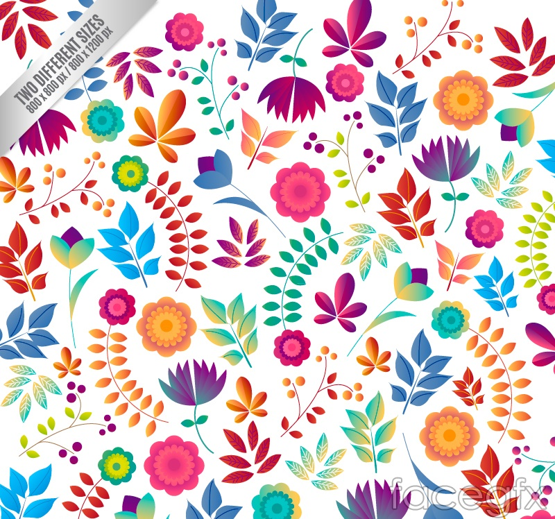 Cartoon Flowers And Leaves Seamless Vector Background