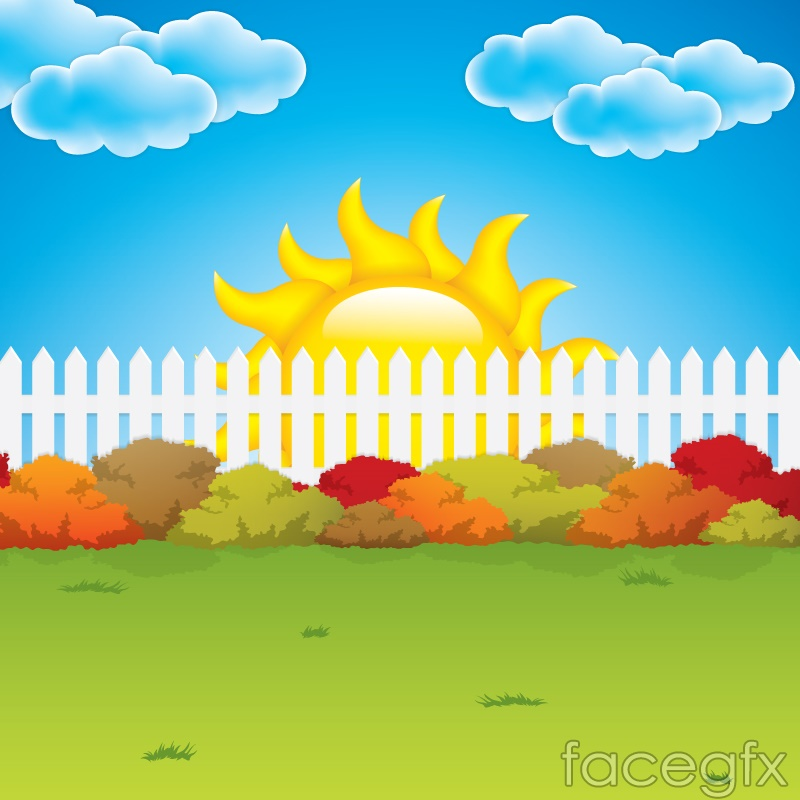 Cartoon garden fence background vector – Over millions ...