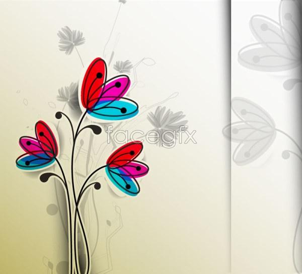 Cartoon hand-painted flowers Vector