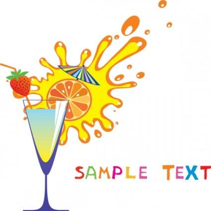 cartoon high glass and juice 04 vector