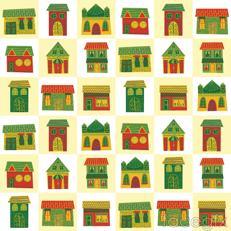Cartoon houses seamless vector background