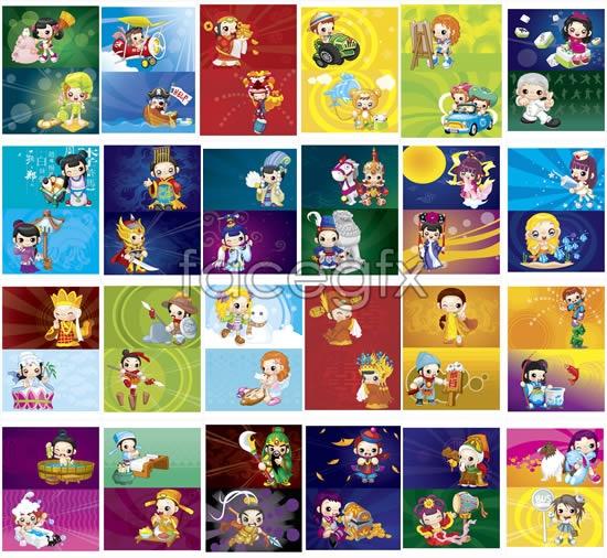 Cartoon legends figures vector