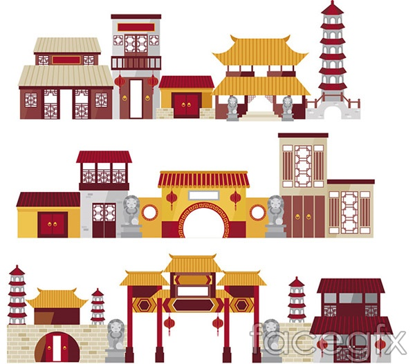 cartoon of chinese traditional architecture vector over millions