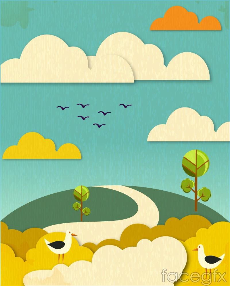 Cartoon paper-cut landscape vector illustration – Over millions