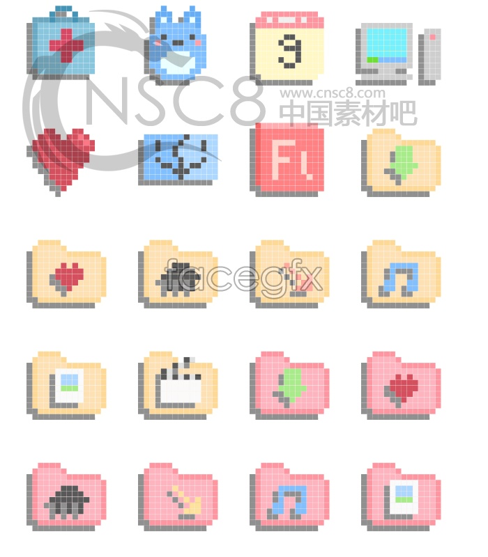 Cartoon Pixels Desktop Icons