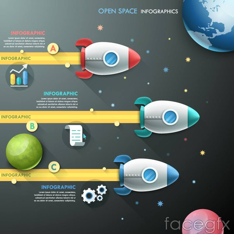 Cartoon rockets business information maps vector – Over millions