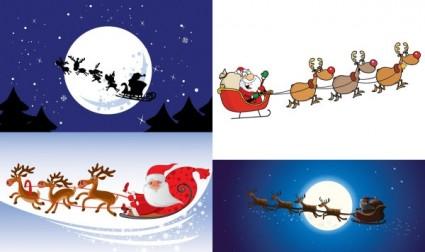 cartoon santa claus and elk vector