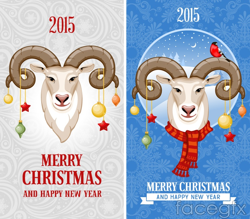 Cartoon sheep head Christmas banner vector