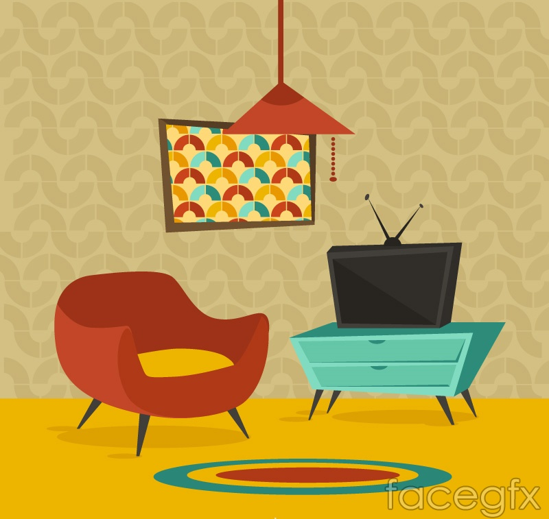 Cartoon sitting room design vector graph Over millions vectors