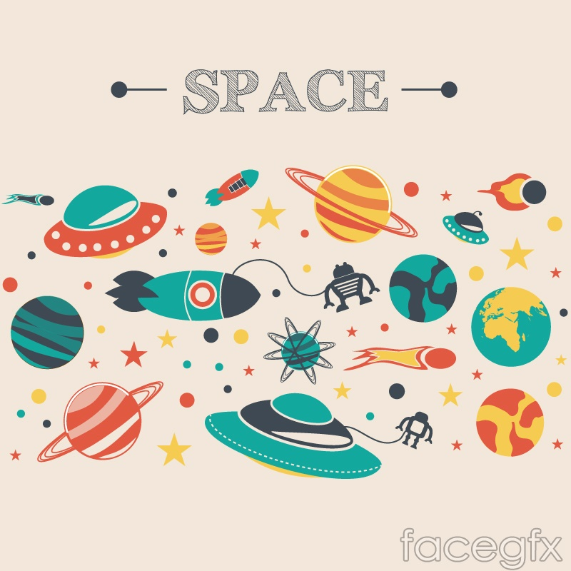 Cartoon Space Adventure Vector Illustration Over