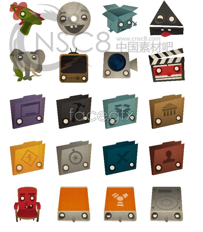 Cartoon stereo desktop icons