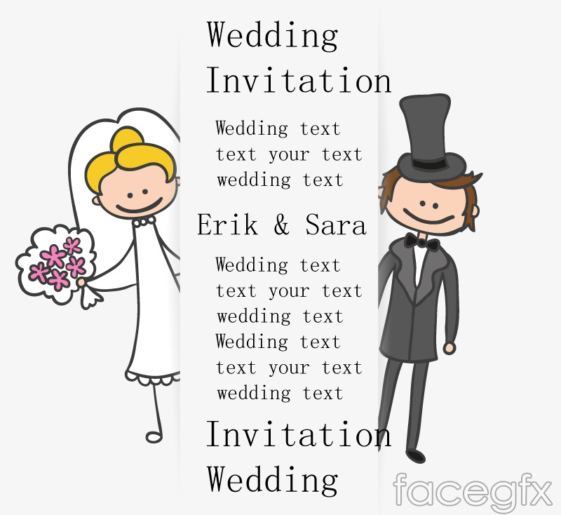 Cartoon Wedding Invitation Card Design Vector Over Millions