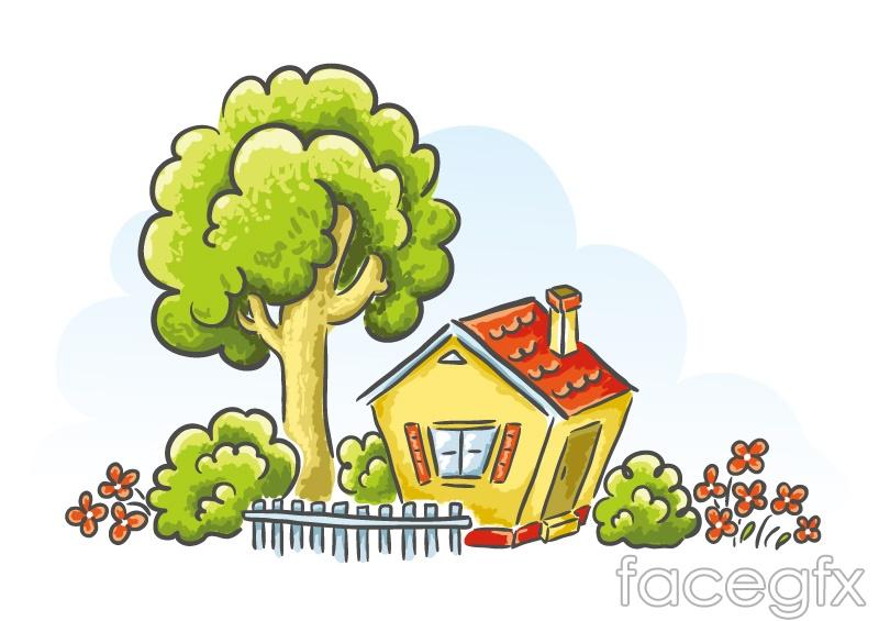 Cartoon with a garden house vector – Over millions vectors