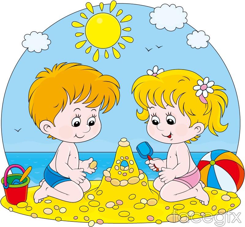 Children Cartoon Beach Background Vector Over Millions