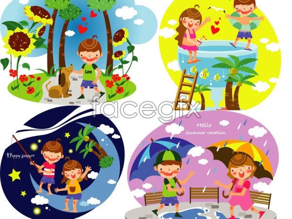 Children's summer holiday vector 3
