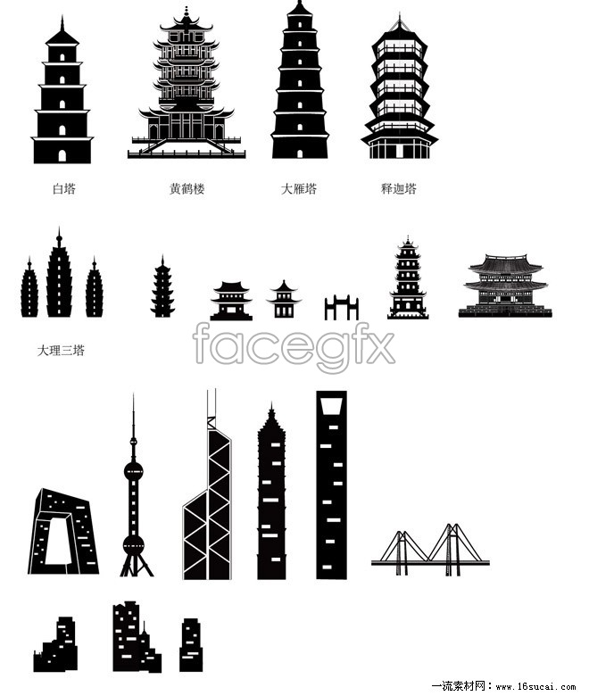 China's ancient and modern architectural silhouettes vector