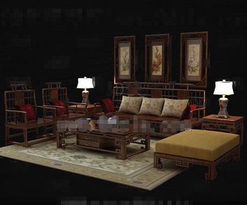 Chinese Style Retro Wooden Sofa Combination 3d Model Over Millions