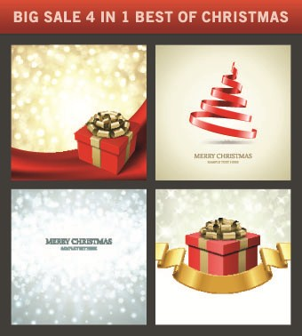 Christmas background 4 in 1 vector set 01