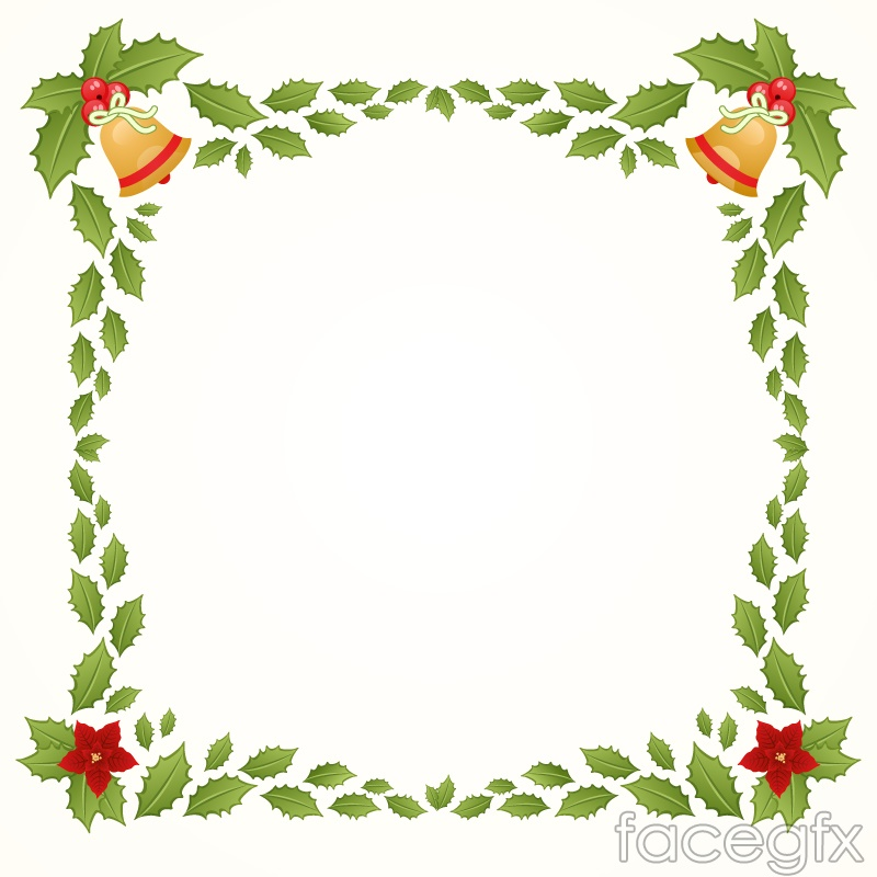Christmas border bells and mistletoe vector