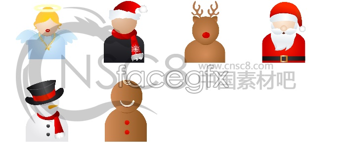 Christmas character icons