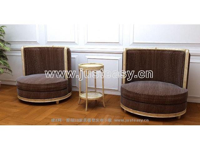 Circular sofa 3D model (including materials)