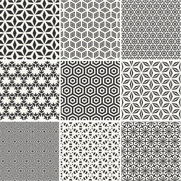 Classic black and white patterned background vector