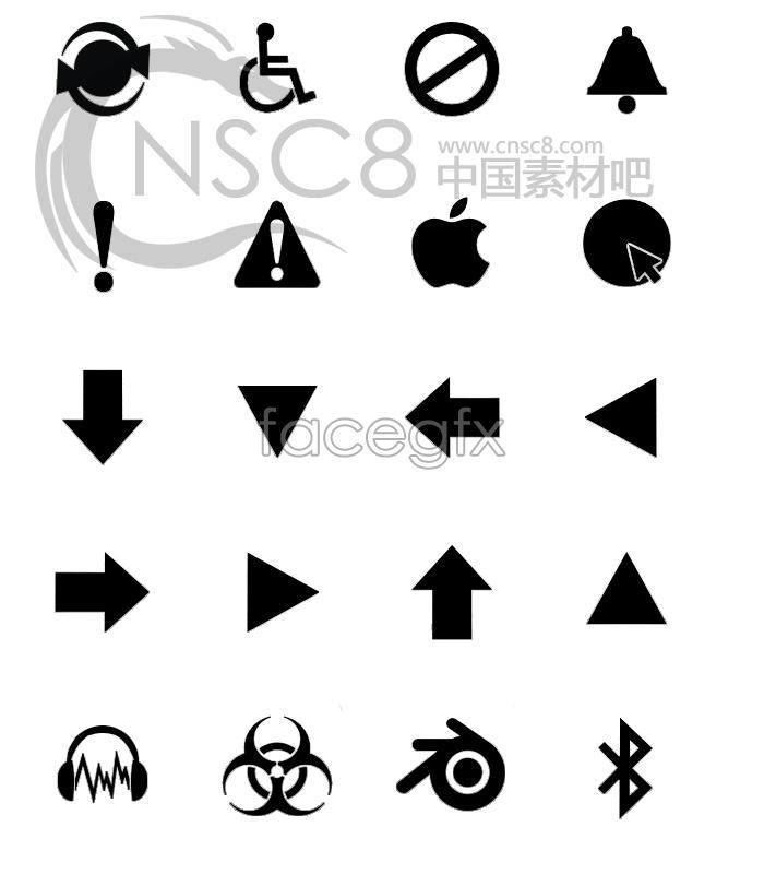 Classic plain black signage icon
