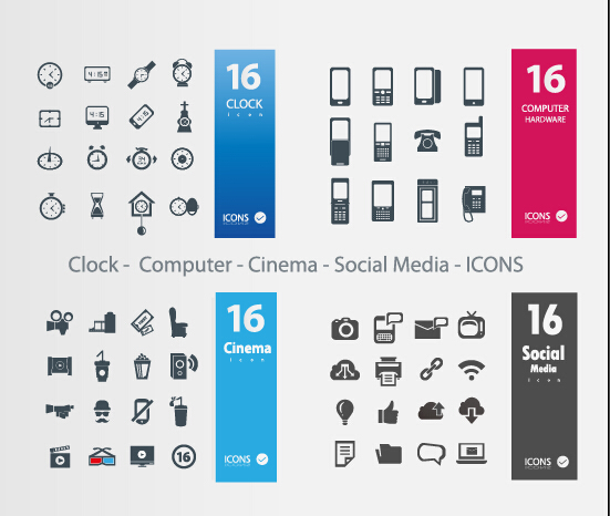 clock – computer – cinema – social media icons vector free – over, Powerpoint templates